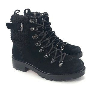 Sam Edelman Tenlee Suede Lace-Up Hiker Winter Booties Faux Shearling Size 6.5